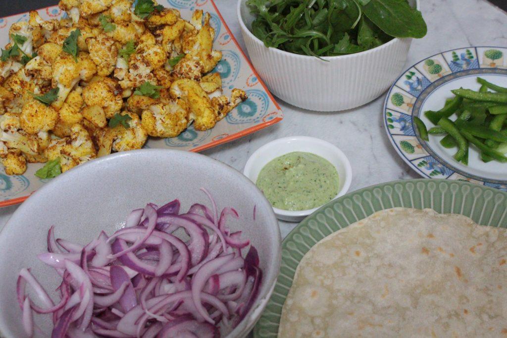 Tandoori Spiced Cauliflower Wraps - Assembly