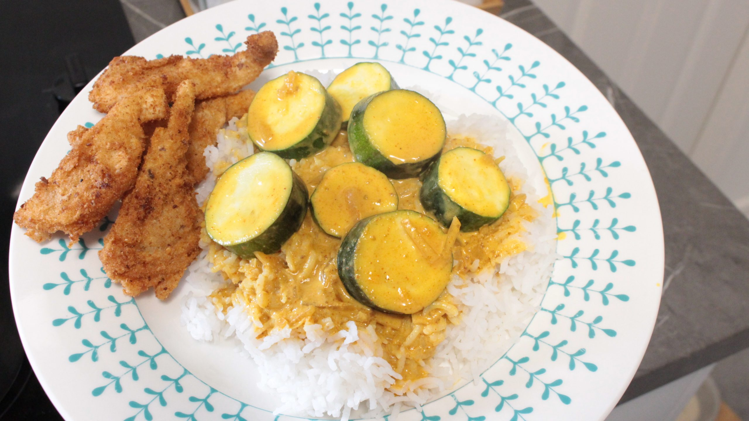 Zucchini Curry with Rice and Crumb-fried Oyster Mushrooms